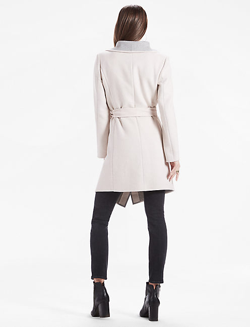 Double Face Colorblock Wrap Jacket, ALMOND