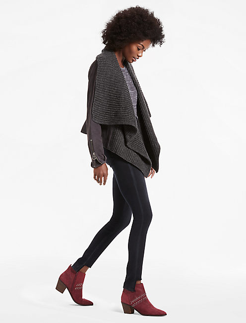 SUEDE SWEATER JACKET, 79 CHARCOAL