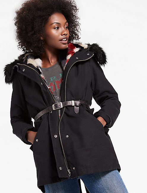 Parka Jacket With Removable Faux Fur Vest,