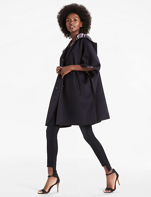 DOUBLE FACE WOOL CAPE, NAVY MULTI