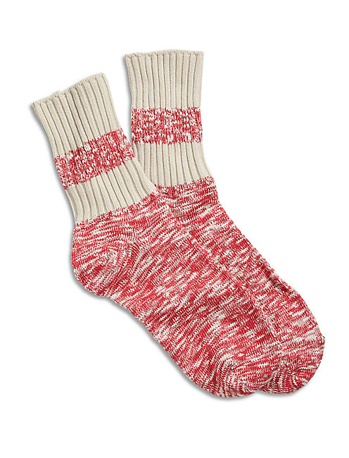 MARLED STRIPE CREW SOCKS, LIGHT RED