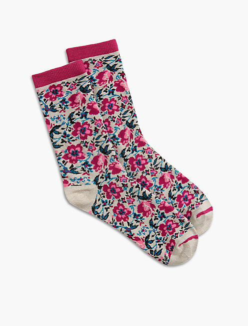 FLOWER KNIT CREW SOCKS, DARK PINK