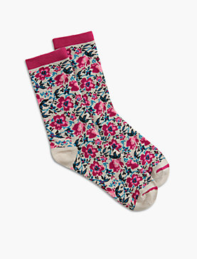 FLOWER KNIT CREW SOCKS