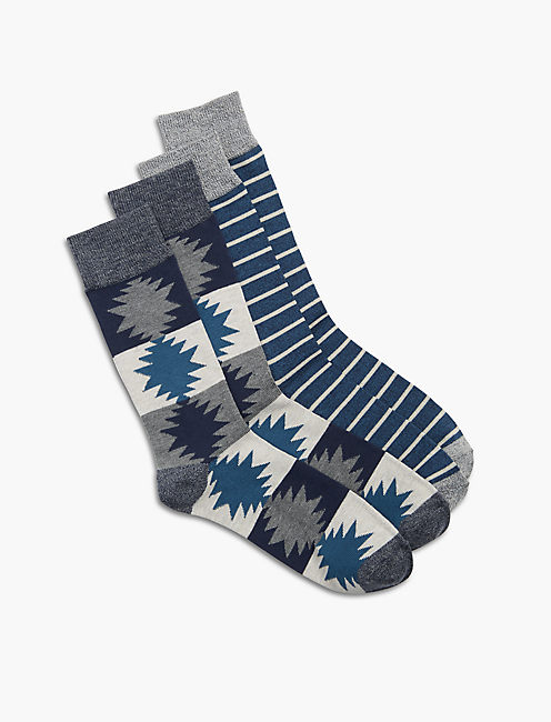 2 Pack Aztec Sock, DARK BLUE