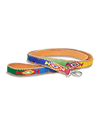 LUCKY EMBROIDERED DOG LEASH