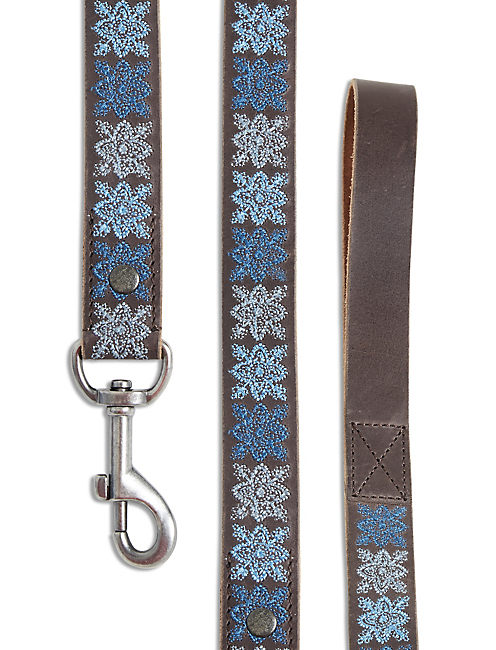 LUCKY INDIGO EMBROIDERED LEASH