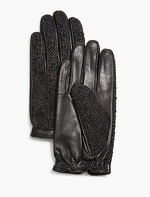 TWEED AND LEATHER GLOVES, BLACK