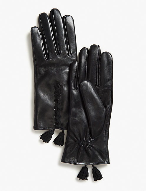 TASSEL LEATHER GLOVES, BLACK