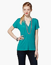 April Pleated Placket Top