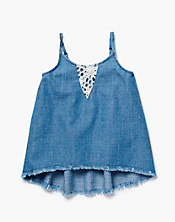 Born Free Crochet Trim Denim Cami