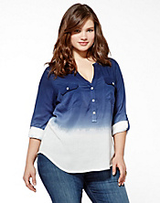 Brooke Half-Placket Dip Dye Top