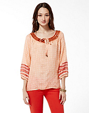 Irving & Fine Mixed Print Peasant Top
