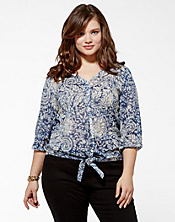 Knotted Flowers Tie Front Top