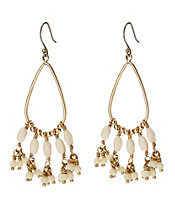 Oblong Bone Beaded Hoop Earrings