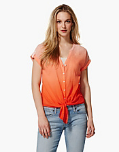 Ombre Cameron Tie-Front Top