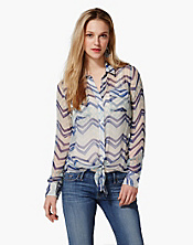 Terrenea Striped Jane Tie-Front Blouse