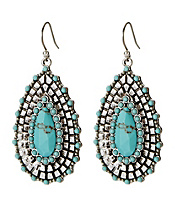 Turquoise Beaded Teardrop Earrings