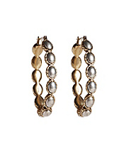Two-Tone Oblong Hoop Earrings