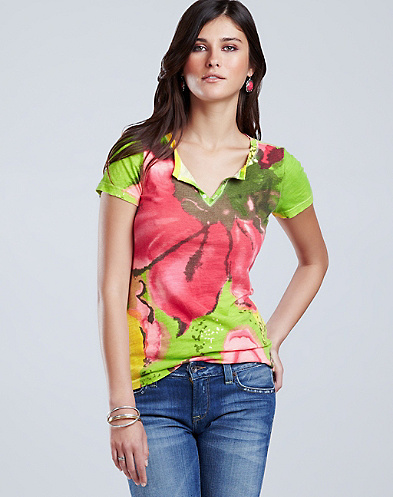 Allover Tropics Henley T-Shirt