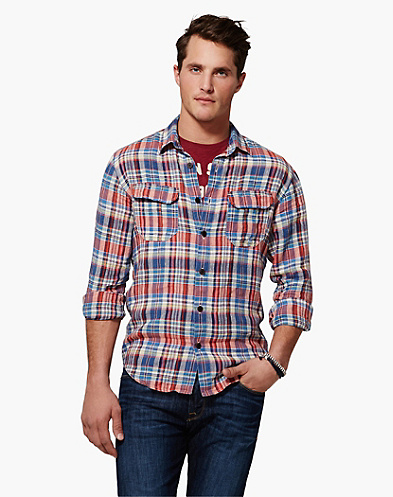 Baird McNutt Acoustic Plaid Linen Shirt