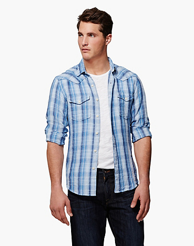 Baird McNutt Shorebird Plaid Linen Western Shirt