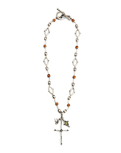 Beaded Cross Charm Necklace
