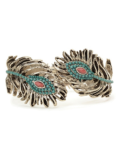 Beaded Peacock Feather Cuff*