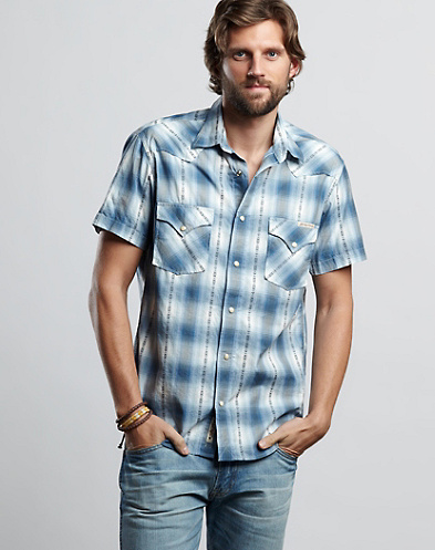 Big Barrel Plaid Western Shirt*