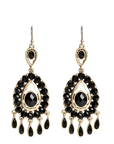 Black Set Stone Chandelier Earrings