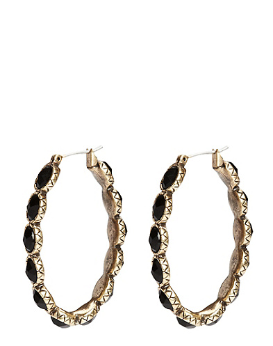 Black Set Stone Hoop Earrings