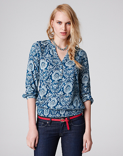 Blue Damask Sylvia Top