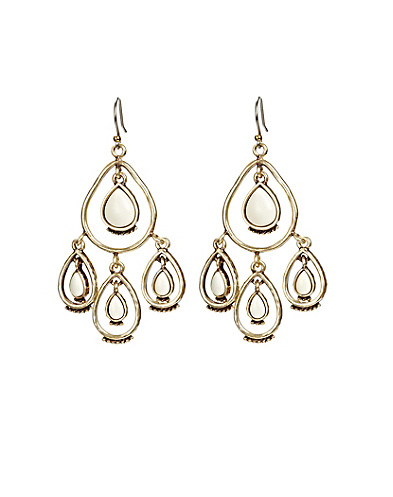 Bone Tear Drop Chandelier Earrings
