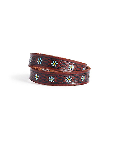 Brown Embossed Leather Bracelet*