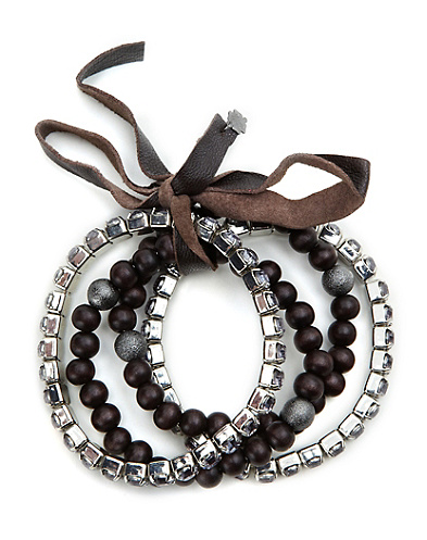 Brown Multiwood Rhinestone Bracelet*