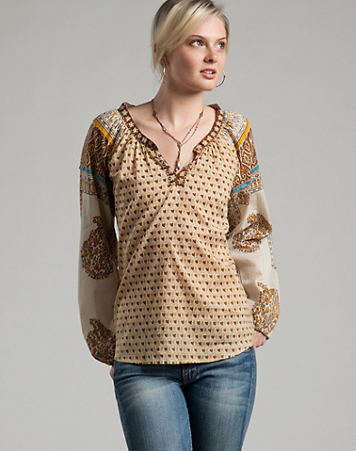 Casablanca Printed Peasant Top*