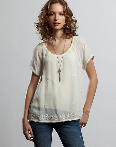 Cecile Embroidered Lace Top*
