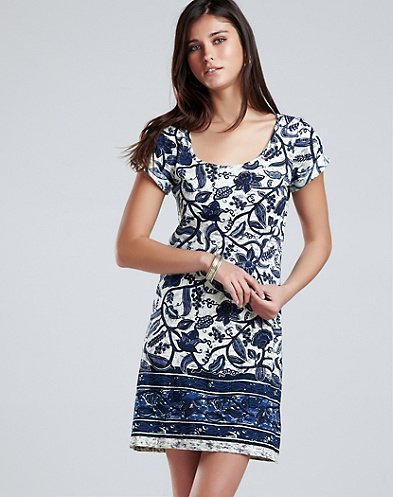 Chantal Border Print T-Shirt Dress*