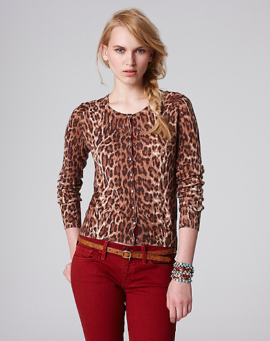 Cheetah Printed Crew Neck Cardigan*