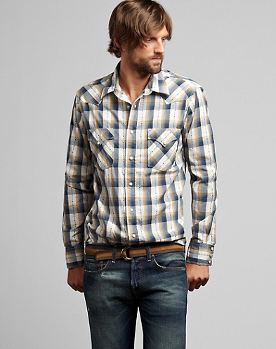 Compass Plaid Western Shirt*