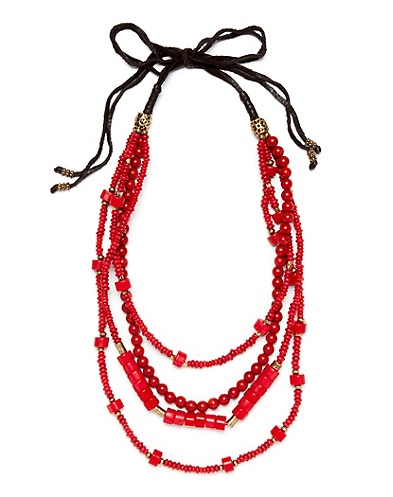 Coral Chunky Strand Necklace