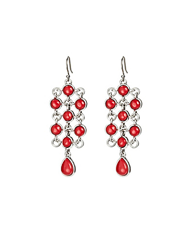 Coral Set Stone Chandelier Earrings