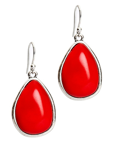 Coral Set Stone Drop Earrings