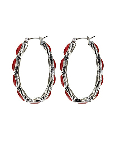 Coral Set Stone Hoop Earrings