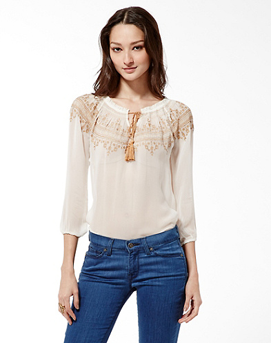Countyline Embroidered Peasant Top