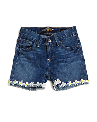 Denim Shorts With Flowers
