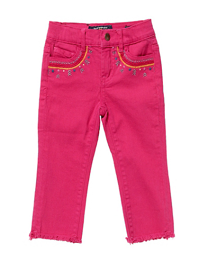 Embellished Colored Twill Capri Pants
