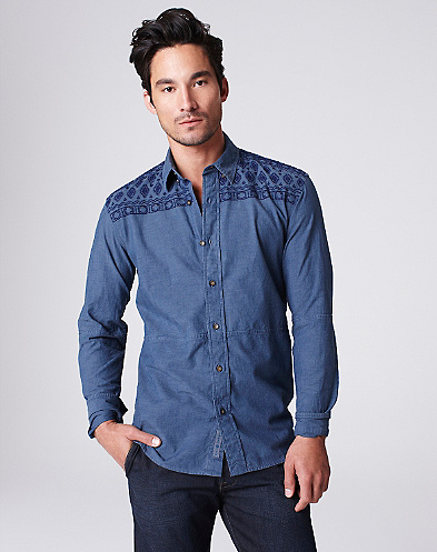 Embroidered Chambray Shirt*