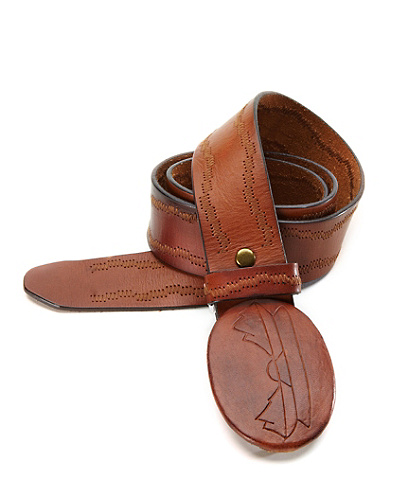 Esteban Embossed Leather Plaque Belt*