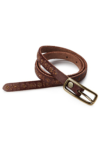 Floral Metallic Skinny Belt