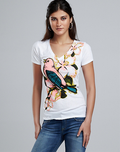 Flower Bird V-Neck T-Shirt*